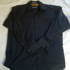 Mens Size 17 34/35 Black Dress Shirt